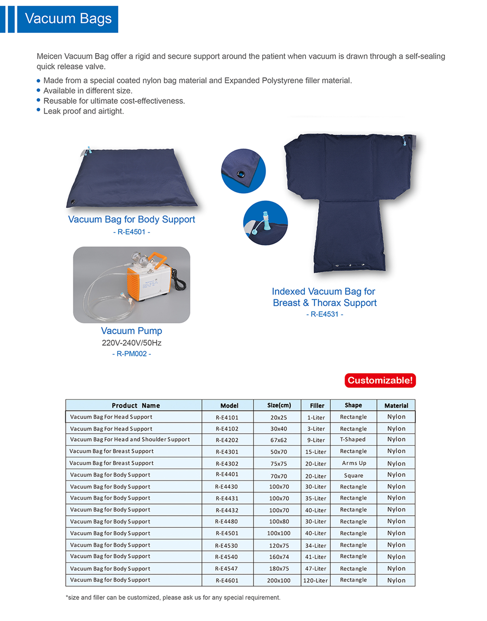 Meicen Indexed Vacuum Bag for Breast&Thorax Support for Radiotherapy  Positioning