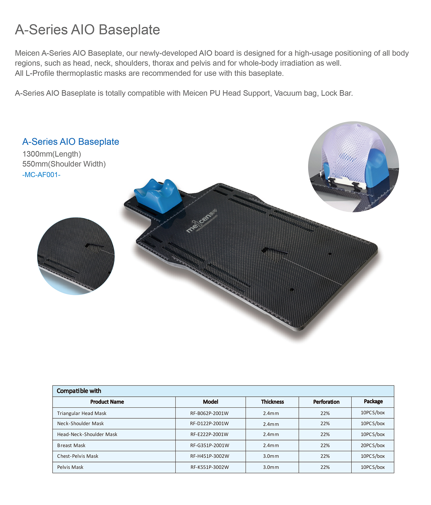 Meicen a-Series Aio Baseplate Carbon Fiber Radiotherapy Baseplate